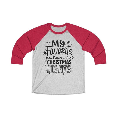 Leanne & Co. Long-sleeve XS / Vintage Red / Heather White My Favorite Color is Christmas Lights Raglan Tee