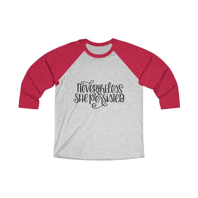 Leanne & Co. Long-sleeve XS / Vintage Red / Heather White Nevertheless She Persisted Raglan Tee