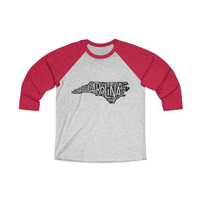 Leanne & Co. Long-sleeve XS / Vintage Red / Heather White North Carolina Home State Doodle Raglan Tee