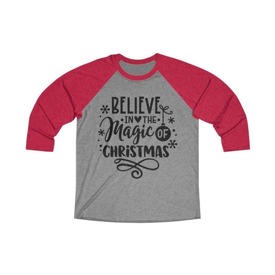 Leanne & Co. Long-sleeve XS / Vintage Red / Premium Heather Believe in the Magic of Christmas Unisex Raglan Tee