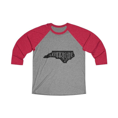 Leanne & Co. Long-sleeve XS / Vintage Red / Premium Heather Charlotte, NC Tri-Blend Raglan Tee