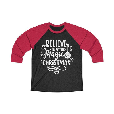 Leanne & Co. Long-sleeve XS / Vintage Red / Vintage Black Believe in the Magic of Christmas Unisex Raglan Tee