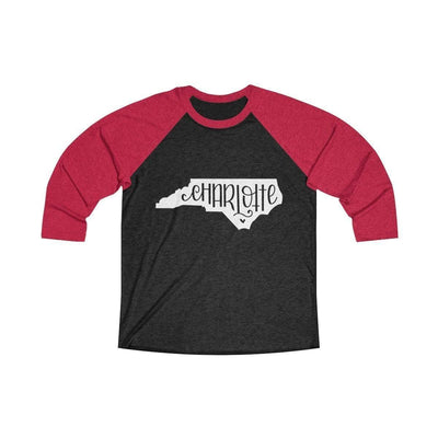 Leanne & Co. Long-sleeve XS / Vintage Red / Vintage Black Charlotte, NC Tri-Blend Raglan Tee