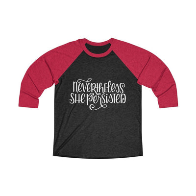 Leanne & Co. Long-sleeve XS / Vintage Red / Vintage Black Nevertheless She Persisted Raglan Tee