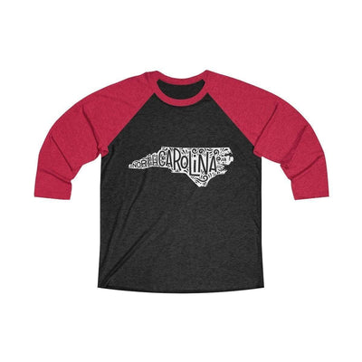 Leanne & Co. Long-sleeve XS / Vintage Red / Vintage Black North Carolina Home State Doodle Raglan Tee
