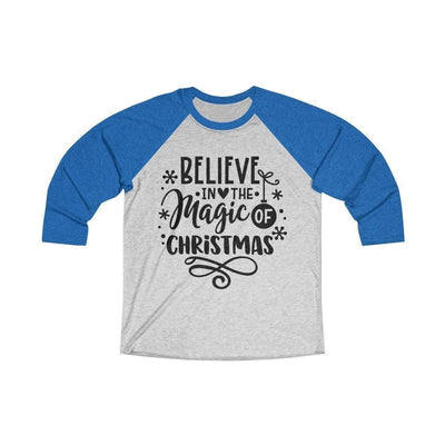 Leanne & Co. Long-sleeve XS / Vintage Royal / Heather White Believe in the Magic of Christmas Unisex Raglan Tee
