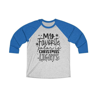 Leanne & Co. Long-sleeve XS / Vintage Royal / Heather White My Favorite Color is Christmas Lights Raglan Tee