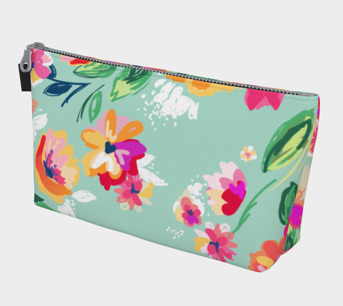 Leanne & Co. Makeup Bag Teal Flowers Makeup Bag