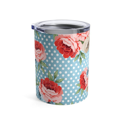 Leanne & Co. Mug 10oz Polka Dot Roses 10oz Tumbler
