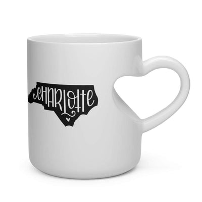 Leanne & Co. Mug 11oz Charlotte, NC Heart Shape Mug