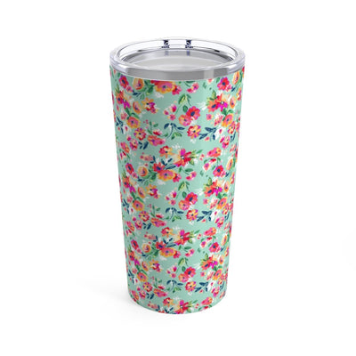 Leanne & Co. Mug 20oz Teal Flowers 20oz Tumbler