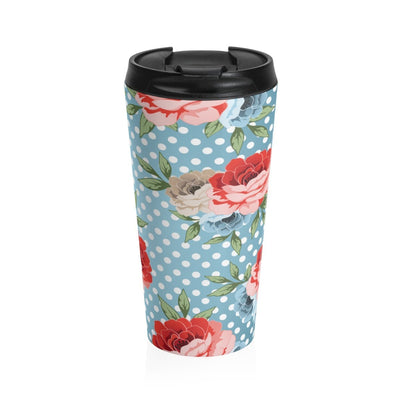 Leanne & Co. Mug Travel Mug Polka Dot Roses Stainless Steel Travel Tumbler