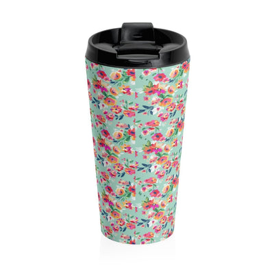 Leanne & Co. Mug Travel Mug Teal Flowers Stainless Steel Travel Tumbler