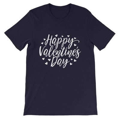 Leanne & Co. Navy / XS Happy Valentine's Day Short-Sleeve Unisex T-Shirt