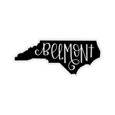 "Leanne & Co. Paper products 2x2"" / Transparent Belmont, NC Black Die Cut Sticker"