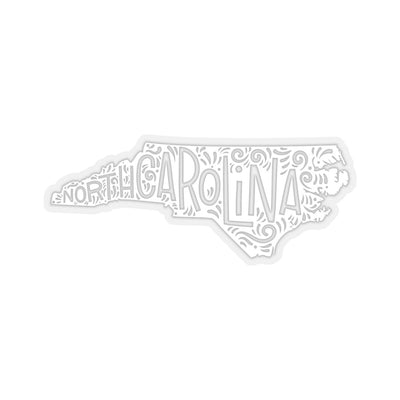 "Leanne & Co. Paper products 3x3"" / Transparent North Carolina Home State White Kiss-Cut Stickers"