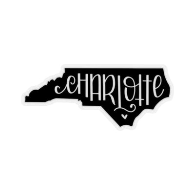 "Leanne & Co. Paper products 4x4"" / Transparent Charlotte, NC Black Die Cut Sticker"