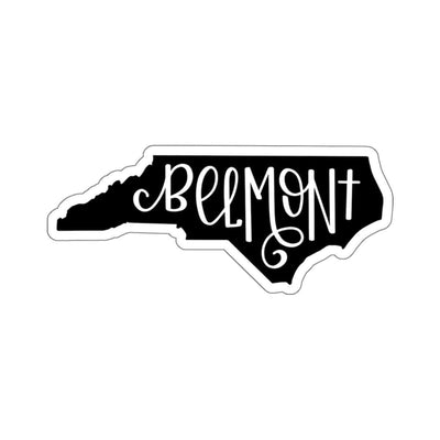 "Leanne & Co. Paper products 4x4"" / White Belmont, NC Black Die Cut Sticker"