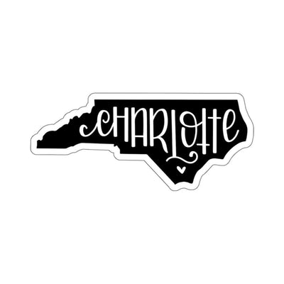"Leanne & Co. Paper products 4x4"" / White Charlotte, NC Black Die Cut Sticker"