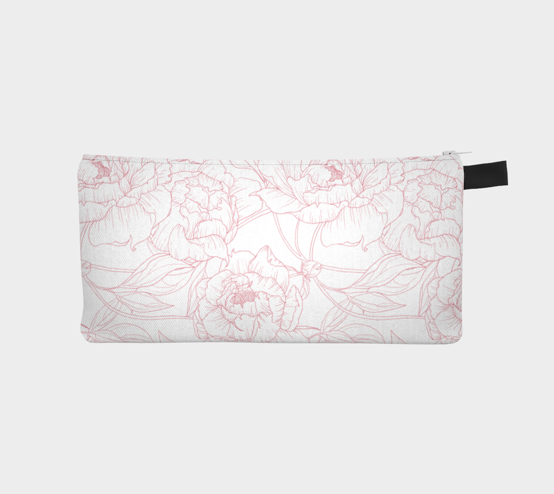 Leanne & Co. Pencil Case Peony Outline Pencil Pouch