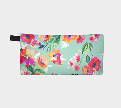 Leanne & Co. Pencil Case Teal Flowers Pencil Case