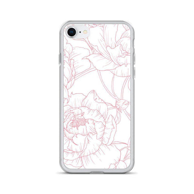 Leanne & Co. Phone Case Pink / iPhone 7/8 Peony Outline Liquid Glitter Phone Case