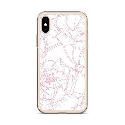 Leanne & Co. Phone Case Pink / iPhone X/XS Peony Outline Liquid Glitter Phone Case