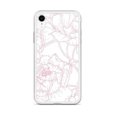 Leanne & Co. Phone Case Pink / iPhone XR Peony Outline Liquid Glitter Phone Case