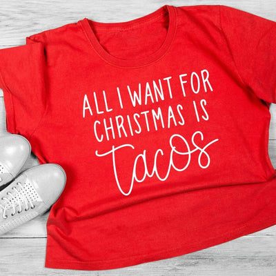 Leanne & Co. Shirt All I Want for Christmas is Tacos Short-Sleeve Unisex T-Shirt