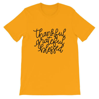 Leanne & Co. Shirt Gold / S Thankful, Grateful, Blessed Short-Sleeve Unisex T-Shirt