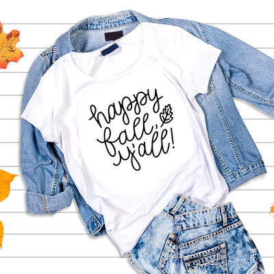 Leanne & Co. Shirt Happy Fall Y'all! Short-Sleeve Unisex T-Shirt