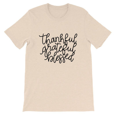 Leanne & Co. Shirt Heather Dust / S Thankful, Grateful, Blessed Short-Sleeve Unisex T-Shirt