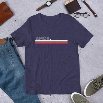 Leanne & Co. Shirt Heather Midnight Navy / XS Amor Stripe Short-Sleeve Unisex T-Shirt