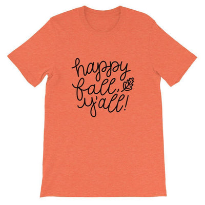 Leanne & Co. Shirt Heather Orange / S Happy Fall Y'all! Short-Sleeve Unisex T-Shirt