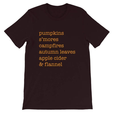 Leanne & Co. Shirt Oxblood Black / S Autumn Things Short-Sleeve Unisex T-Shirt