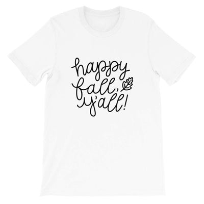 Leanne & Co. Shirt White / XS Happy Fall Y'all! Short-Sleeve Unisex T-Shirt