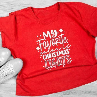 Leanne & Co. Shirts My Favorite Color is Christmas Lights Short-Sleeve Unisex T-Shirt