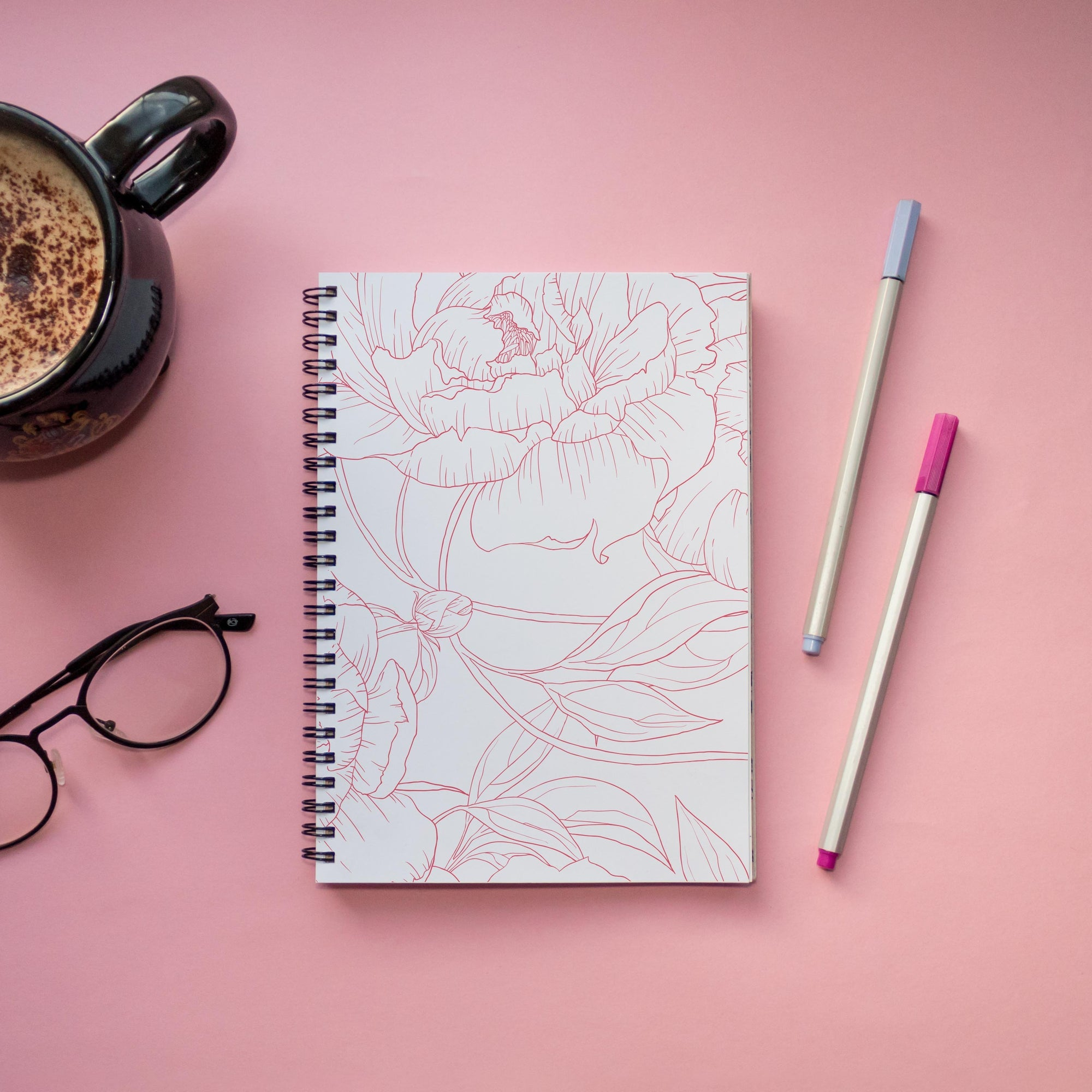 Leanne & Co. Spiral Notebook Peony Outline Spiral Notebook