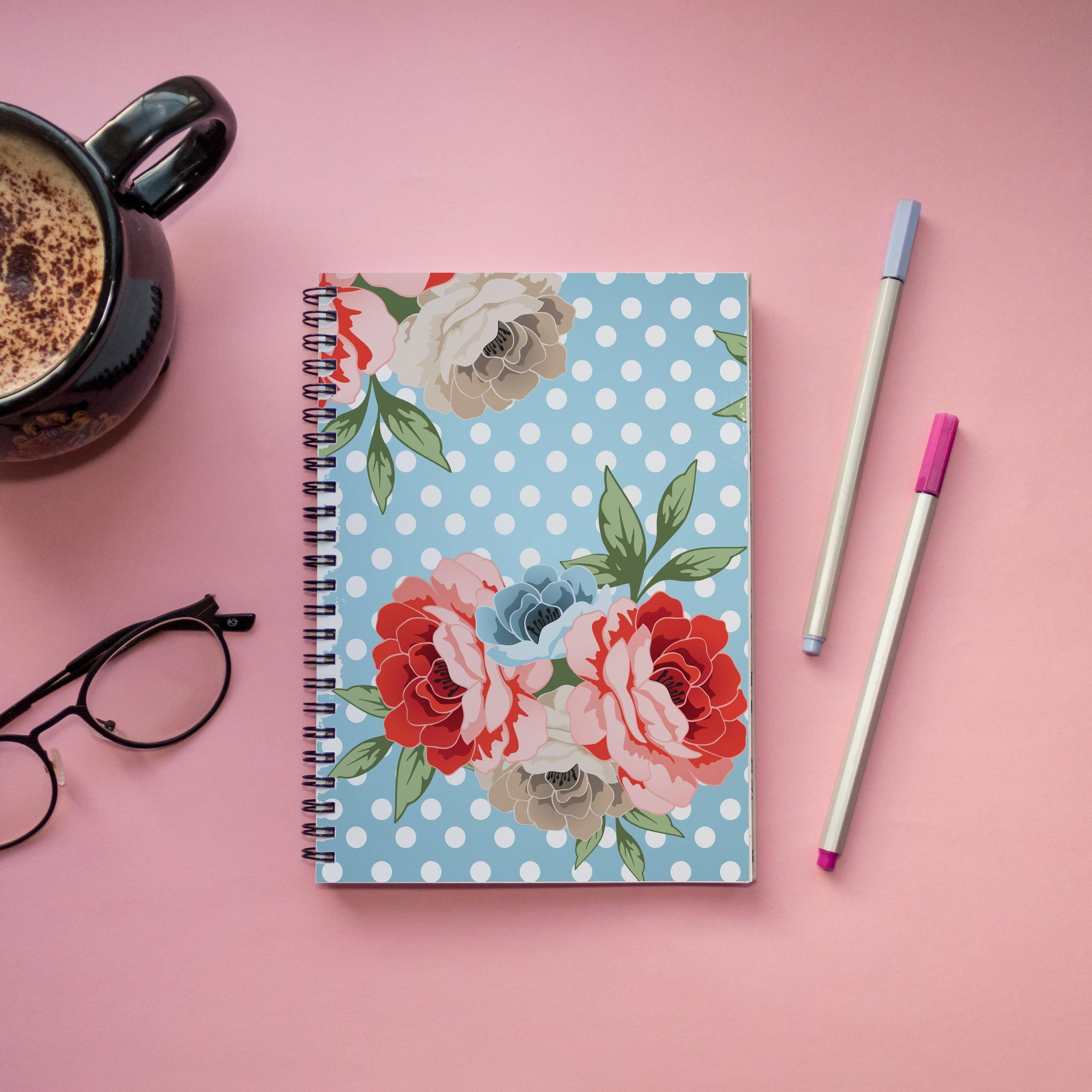Leanne & Co. Spiral Notebook Polka Dot Roses Spiral Notebook
