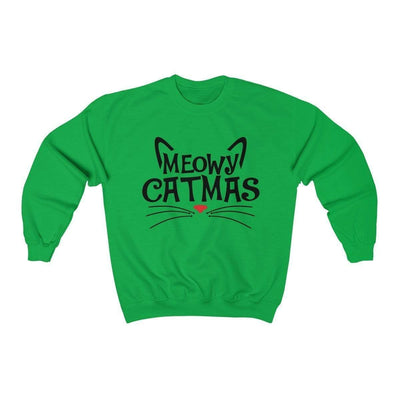 Leanne & Co. Sweatshirt Irish Green / S Meowy Catmas Unisex Crewneck Sweatshirt