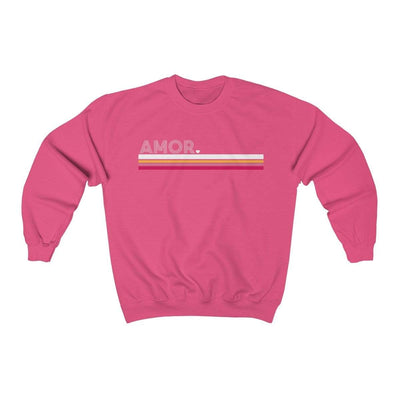 Leanne & Co. Sweatshirt Safety Pink / S Amor Striped Unisex Sweatshirt