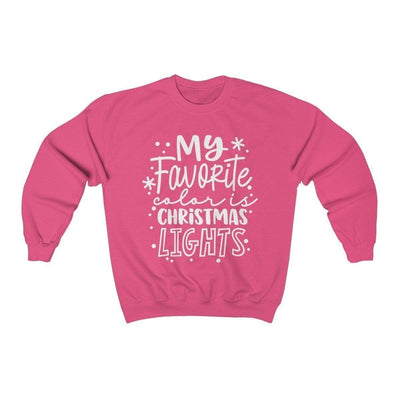 Leanne & Co. Sweatshirt Safety Pink / S My Favorite Color is Christmas Lights Unisex Sweatshirt