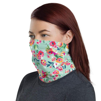 Leanne & Co. Teal Floral Protective Neck Gaiter