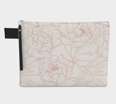 Leanne & Co. Zipper Carry-all Peony Outline Zipper Carry-All