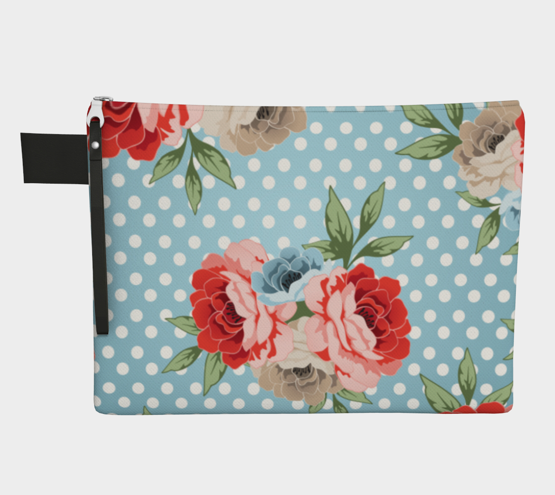 Leanne & Co. Zipper Carry-all Polka Dot Roses Zipper Carry-All