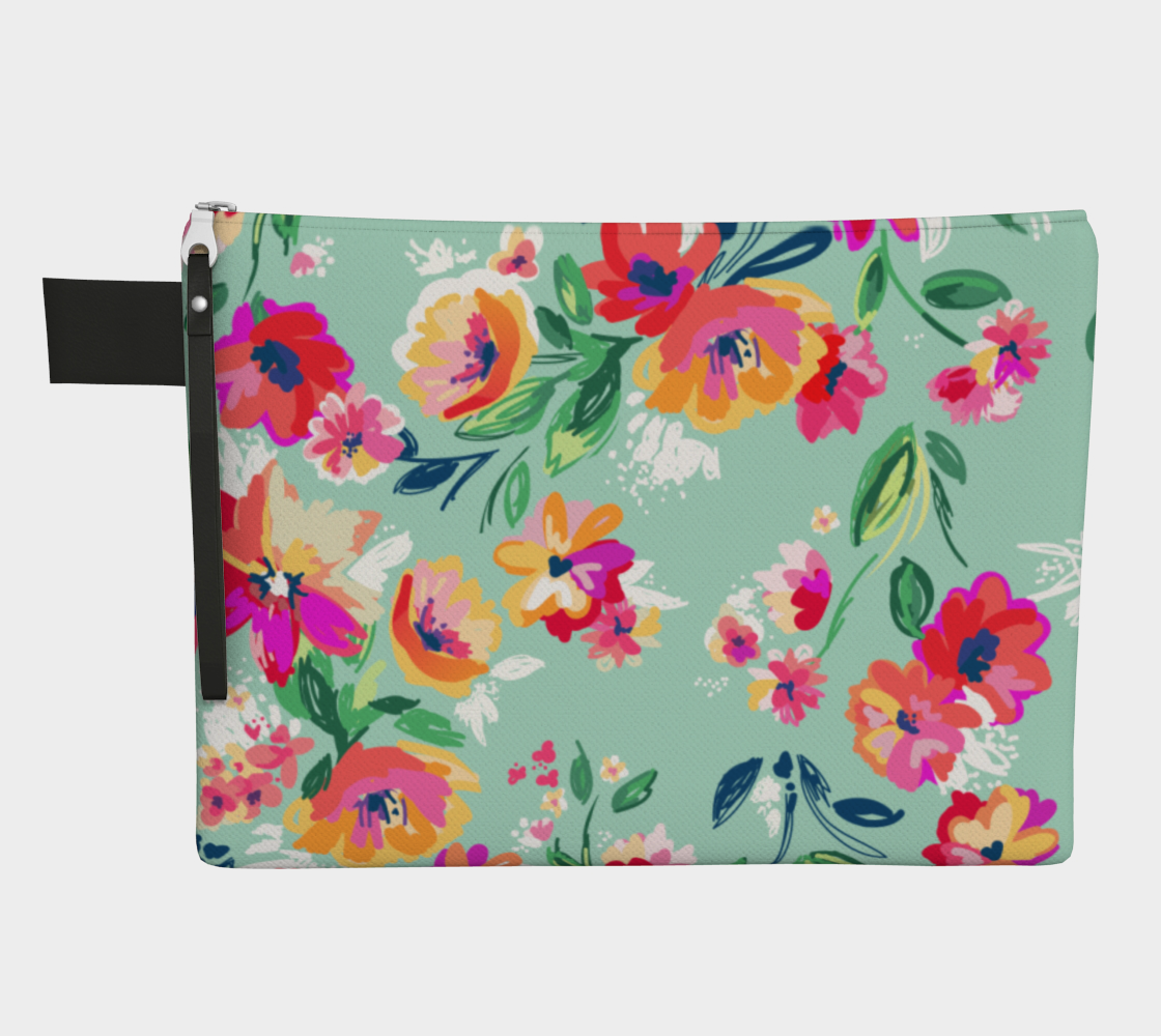 Leanne & Co. Zipper Carry-all Teal Flowers Zipper Carry-All