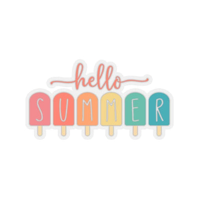 "Printify Paper products 4x4"" / Transparent Hello Summer Popsicle Kiss-Cut Stickers"