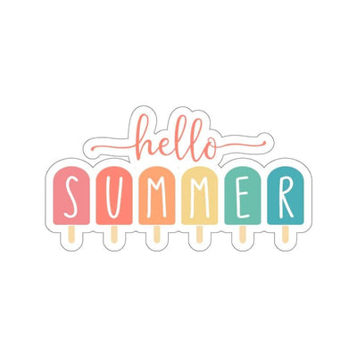 "Printify Paper products 4x4"" / White Hello Summer Popsicle Kiss-Cut Stickers"