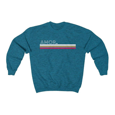 Printify Sweatshirt Antique Sapphire / S Amor Striped Unisex Sweatshirt