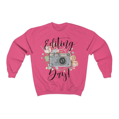 Printify Sweatshirt Safety Pink / S Editing Day Vintage Camera Unisex Sweatshirt